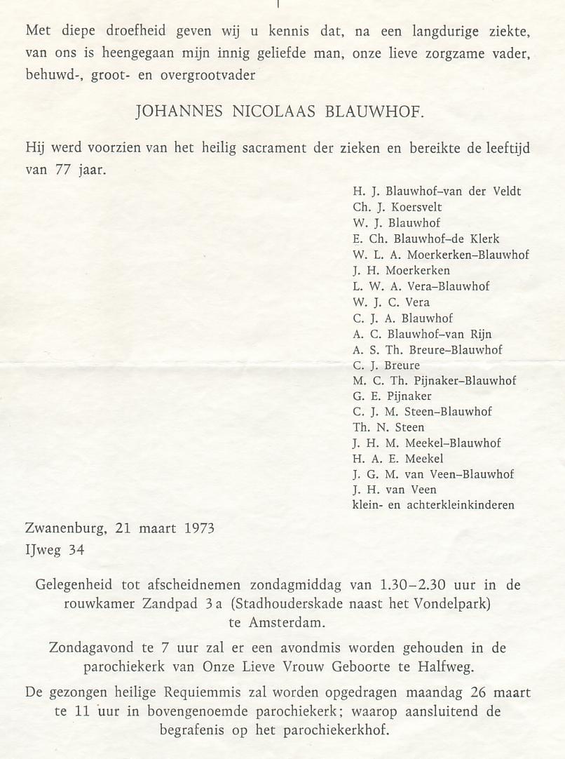 Johannes Nicolaas Blauwhof Family Tree By Johanna Van Mourik